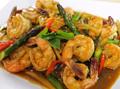 Shrimp & chili paste stir-fry (กุ้งผัดนำ้พริกเผา) (Goong pad nam prik pao)