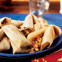 Shrimp and cilantro pesto tamales