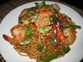 Shrimp and fried noodles (Ebi yakisoba)
