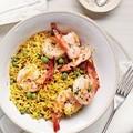 Shrimp and pea rice bowl