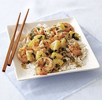 Shrimp and pineapple stir-fry with coconut rice