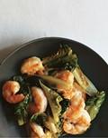 Shrimp and romaine stir-fry