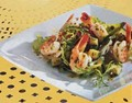 Shrimp salad with zucchini and basil
