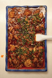 Sichuan tofu and ground beef in red chile sauce (Mapo tofu)