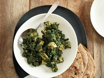 Simmered greens with fried tofu (Saag soy paneer)