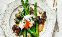 Simon Hopkinson and Matthew Harris's asparagus with morels and poached eggs