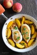Skillet basil-peach chicken breasts