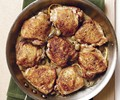 Skillet-roasted chicken thighs with olives and rosemary