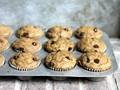 Skinny zucchini banana chocolate chip muffins