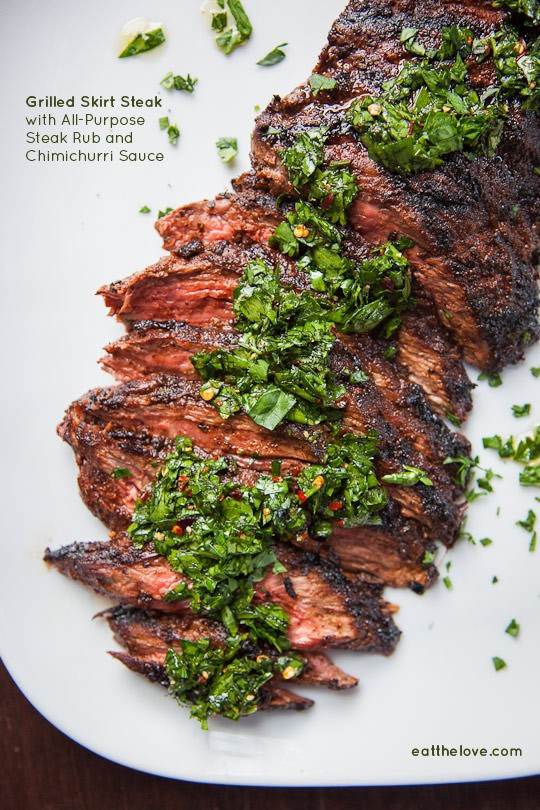 Skirt steak recipe with all-purpose steak rub and chimichurri sauce