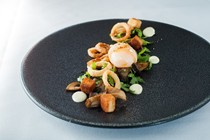 Slow-cooked duck egg with wild mushrooms, crispy shallots and tarragon dressing