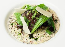 Slow-cooked Irish beef shin with quinoa, wild garlic and Parmesan