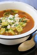 "Slow cooker chipotle chicken zucchini ""fideo"" soup"