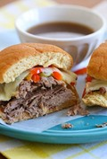 Slow cooker French dip sandwiches with caramelized onions