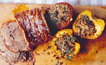 Slow-roasted shoulder of pork with stuffed squash