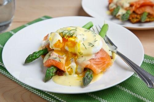 Morel Mushroom And Asparagus Eggs Benedict Recipe — Dishmaps