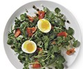 Smoked salmon salad with soft-boiled eggs