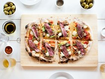 Smoked venison pizza with wild mushrooms, asparagus & Taleggio