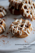 Snickerdoodle waffle cookies with cream cheese glaze