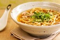 Soba noodles, ginger and garlic broth, chicken and coriander