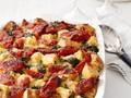 Sourdough strata with tomatoes and greens