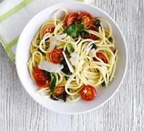 Spaghetti with cherry tomato & black olive sauce