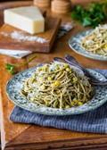 Spaghetti with corn & parsley pesto