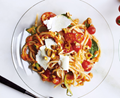 Spaghetti with no-cook tomato sauce and hazelnuts