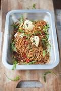 Spelt spaghetti, vine tomatoes & baked ricotta