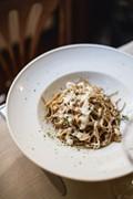 Spelt spaghetti with wild mushrooms and Parmesan cream