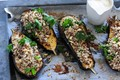 Spiced eggplant with yoghurt & quinoa