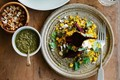 Spiced millet pilaf with beetroot, feta & mint (with mint and beetroot green pesto)