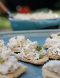 Spicy crab dip with homemade garlic Parmesan crackers