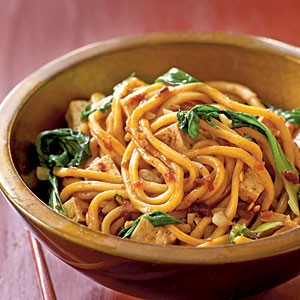 Spicy Malaysian-style stir-fried noodles (Mee goreng)