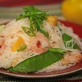 Spicy shrimp salad with mango and rice noodles