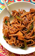 Spicy Thai noodles with peppers (Pad kee mao)