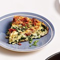 Spinach, ham, and Gruyére frittata