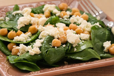 Spinach salad with marinated garbanzo beans and feta ...
