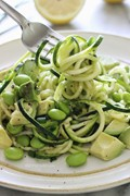 Spiralized raw zucchini salad with avocado and edamame