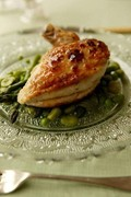 Spring chicken with asparagus, peas and broad beans