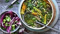 Spring minestrone with bacon, pesto, asparagus and broad beans