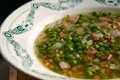 Spring pea and farro soup