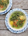 Spring pea soup with asparagus and potatoes