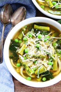 Spring vegetable zucchini noodle soup