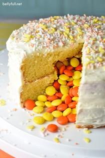 Springtime piñata cake
