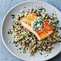 Stabilising salmon and quinoa tzatziki salad
