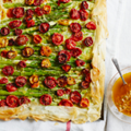 Sticky roasted tomato, rosemary and asparagus tart with tomato dressing