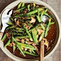 Stir-fried asparagus with shiitakes & sesame seeds