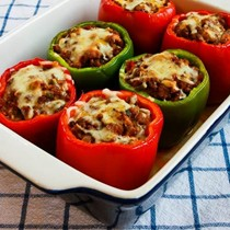 Stuffed peppers with turkey Italian sausage, ground beef, and mozzarella