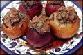 Stuffed potatoes and beets in tamarind sauce